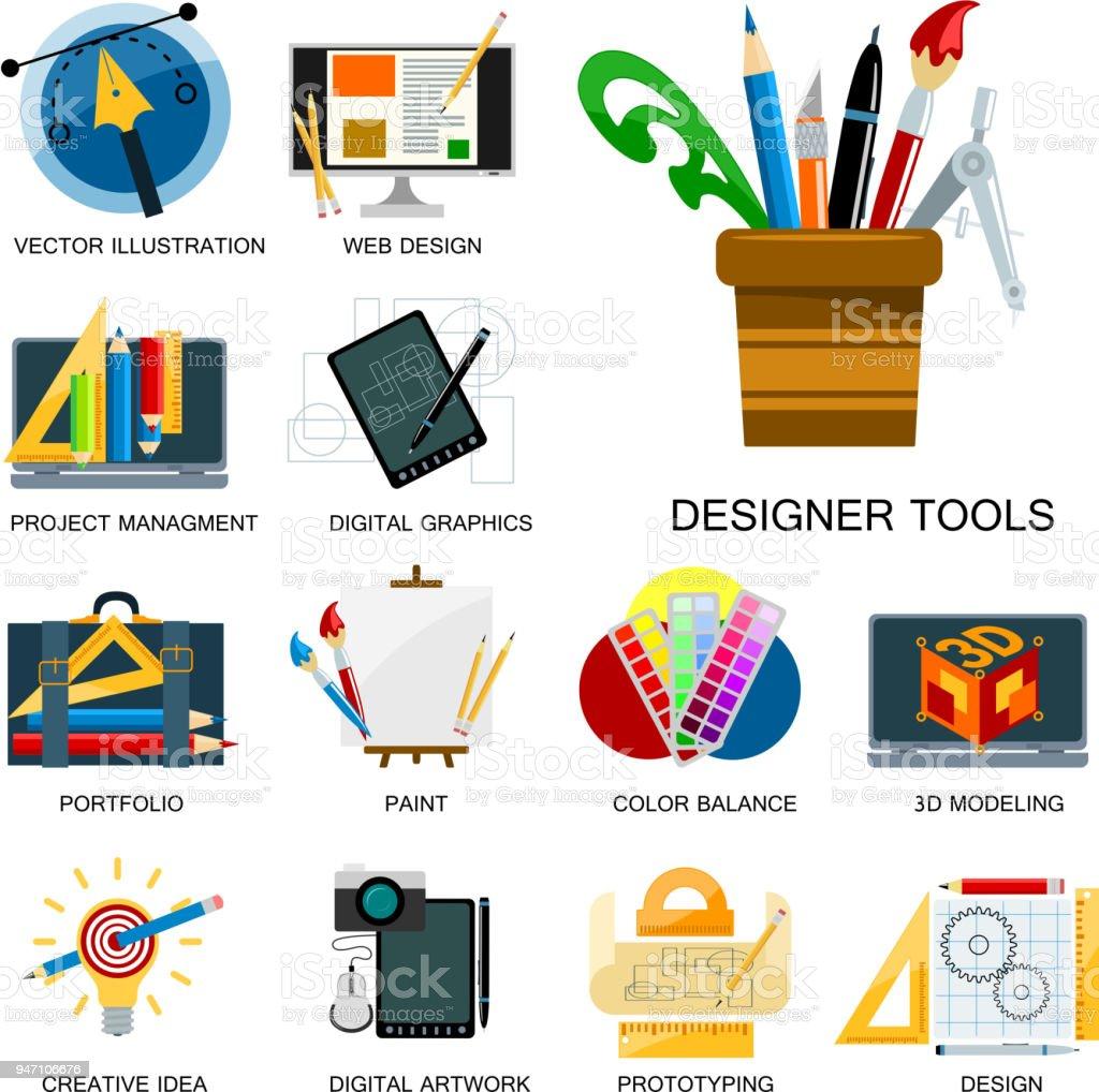 Creativity icons imagination vector illustration abstract colorful flat creative process design development elements векторная иллюстрация
