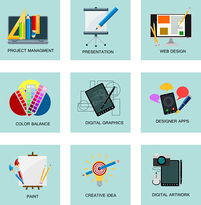 Creativity Icons Imagination Vector Illustration Abstract Colorful Flat Creative Process Design Development Elements Stock Illustration Download Image Now Istock