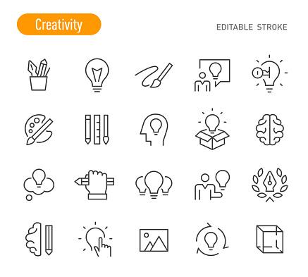 Creativity Icons - Line Series - Editable Stroke