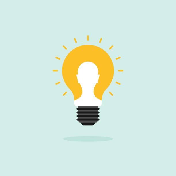 Creativity idea concept flat design with light bulb vector art illustration