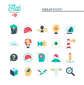 Creativity, imagination, problem solving, mind power and more, flat icons set