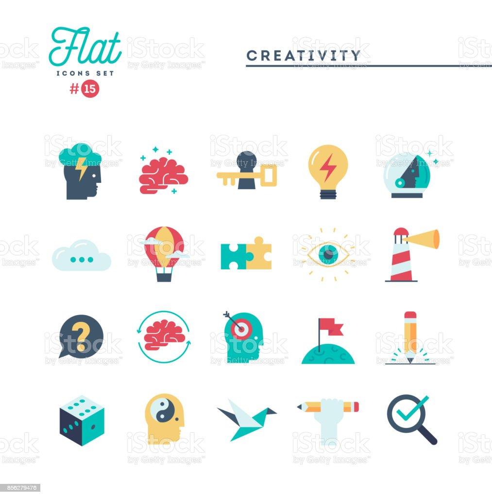 Creativity, imagination, problem solving, mind power and more, flat icons set vector art illustration