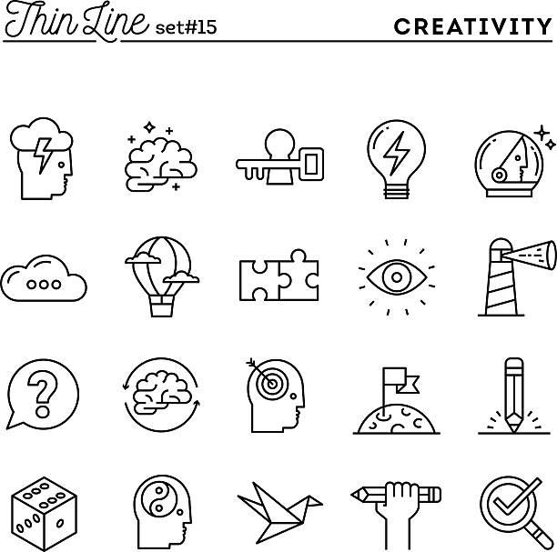 kreativität und fantasie, problemlösung, geist energie und mehr, t - kunstaktivitäten stock-grafiken, -clipart, -cartoons und -symbole