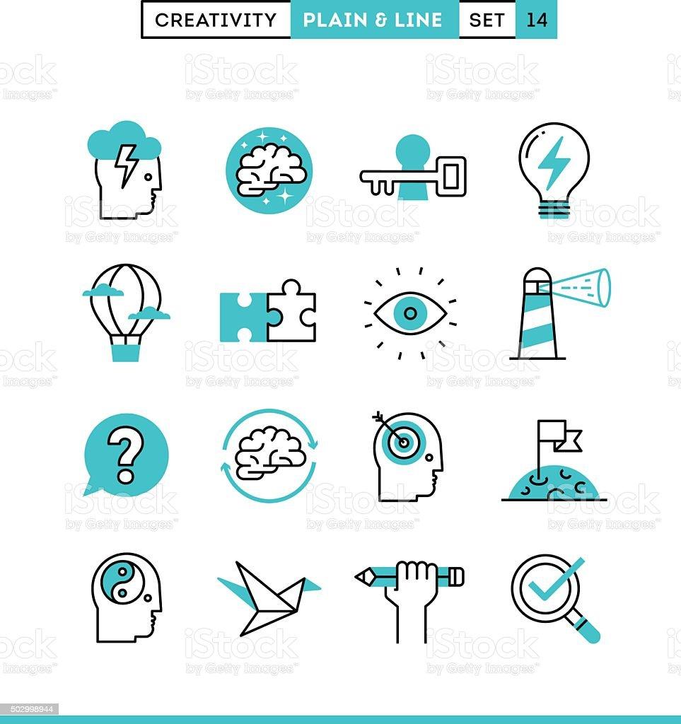 Creativity, imagination, problem solving, mind power and more. vector art illustration