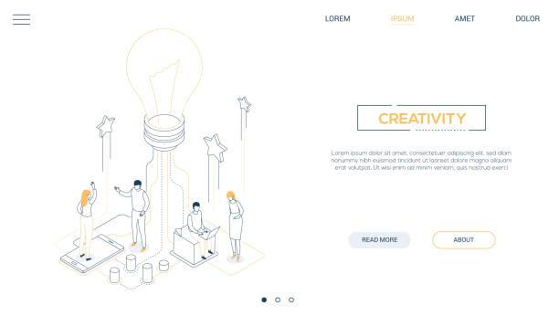 Kreativität-Liniendesign isometrisches Web-Banner – Vektorgrafik