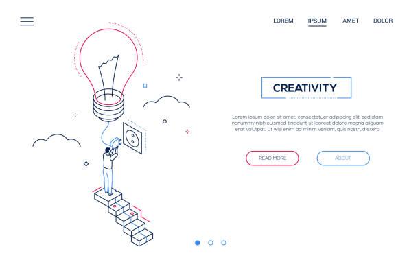 Kreativität - Line Design Stil isometrische Web-Banner – Vektorgrafik