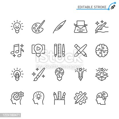 Creativity line icons. Editable stroke. Pixel perfect.