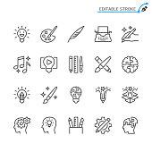 Creativity line icons. Editable stroke. Pixel perfect.