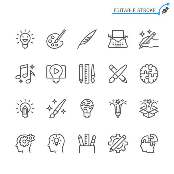 illustrations, cliparts, dessins animés et icônes de icônes de ligne de créativité. accident vasculaire cérébral modifiable. pixel parfait. - art