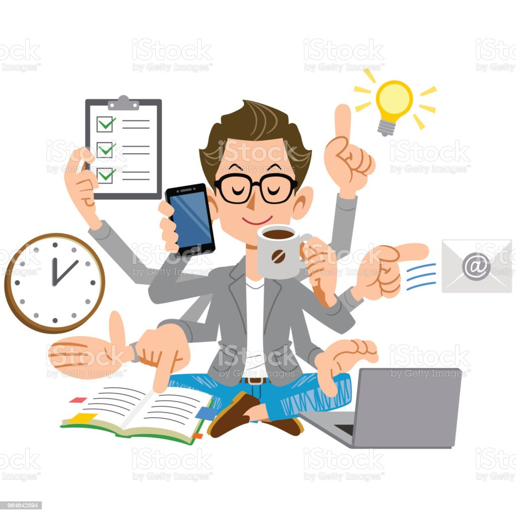 A creator-like man who performs a lot of work calmly royalty-free a creatorlike man who performs a lot of work calmly stock vector art & more images of busy