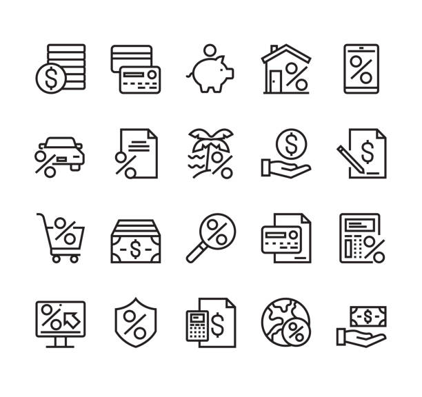 Credit and loan banking financial line simple icon isolated set. Vector graphic design concept vector art illustration