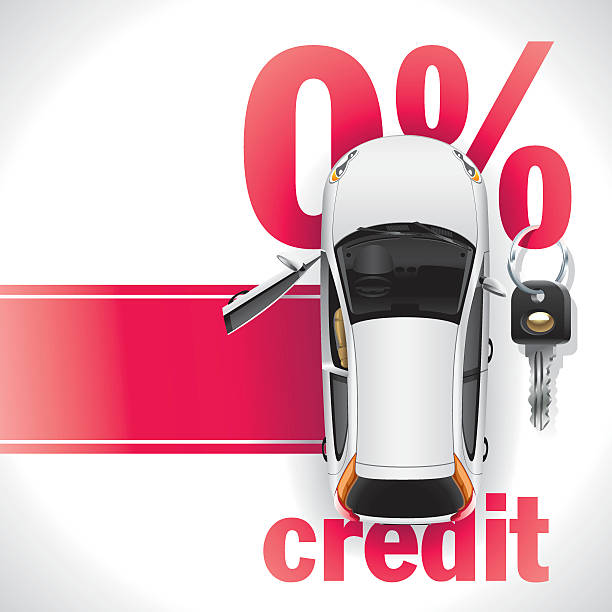 Credit Car on the Red Carpet New white car with open front door standing on the red carpet. Against the background of a red font written zero interest rate on the loan. On the percent symbol hanging black ignition key. vehicle door stock illustrations