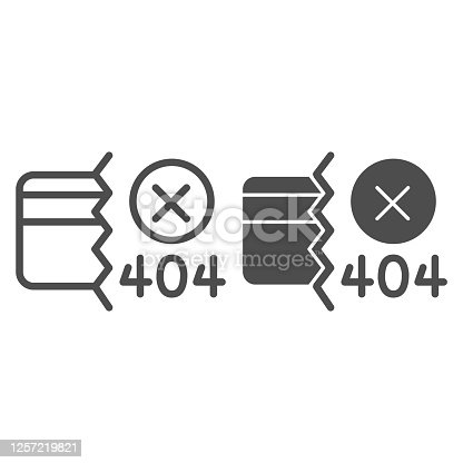 istock Credit card and communication error line and solid icon, Payment problem concept, payment failure sign on white background, Credit card with 404 error icon in outline style. Vector graphics. 1257219821