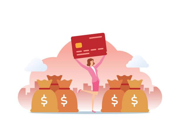 Credit Card And Money Bag vector art illustration