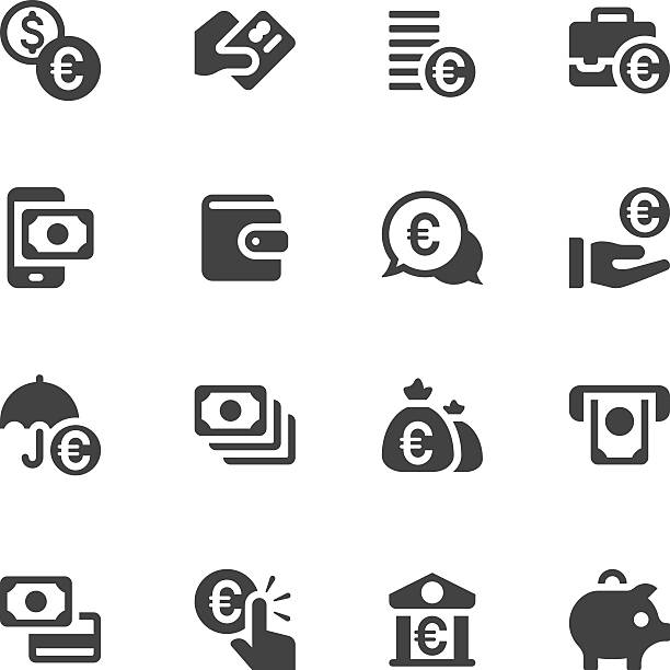 Credit Card and Money Icons - Euro Sign Set of 16 Money and Credit Card with Euro sign vector icons. euro symbol stock illustrations
