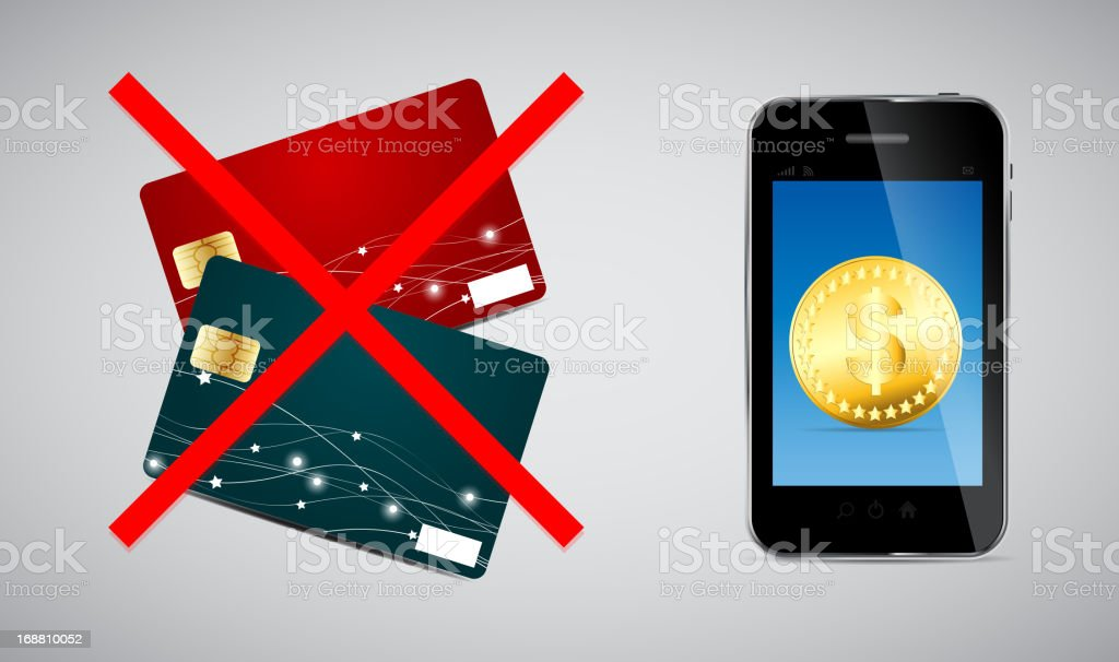 Credit card and Phone vector illustration royalty-free stock vector art