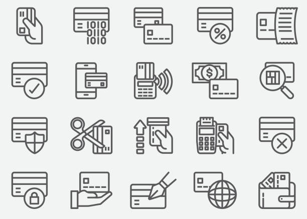Credit Card ATM Line Icons Credit Card ATM Line Icons inserting stock illustrations