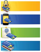 Detailed credit card banners with copy space. EPS 10 file. Transparency effects used on highlight elements.