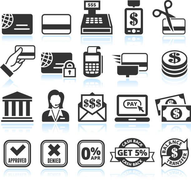 kreditkarte schwarz und weiß lizenzfreie vektor icon-set - kassenbon stock-grafiken, -clipart, -cartoons und -symbole
