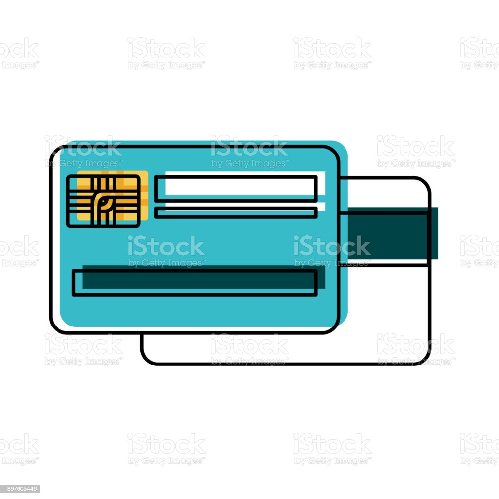 credit card both side in watercolor silhouette vector art illustration