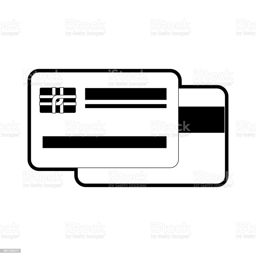 credit card both sides in black silhouette vector art illustration