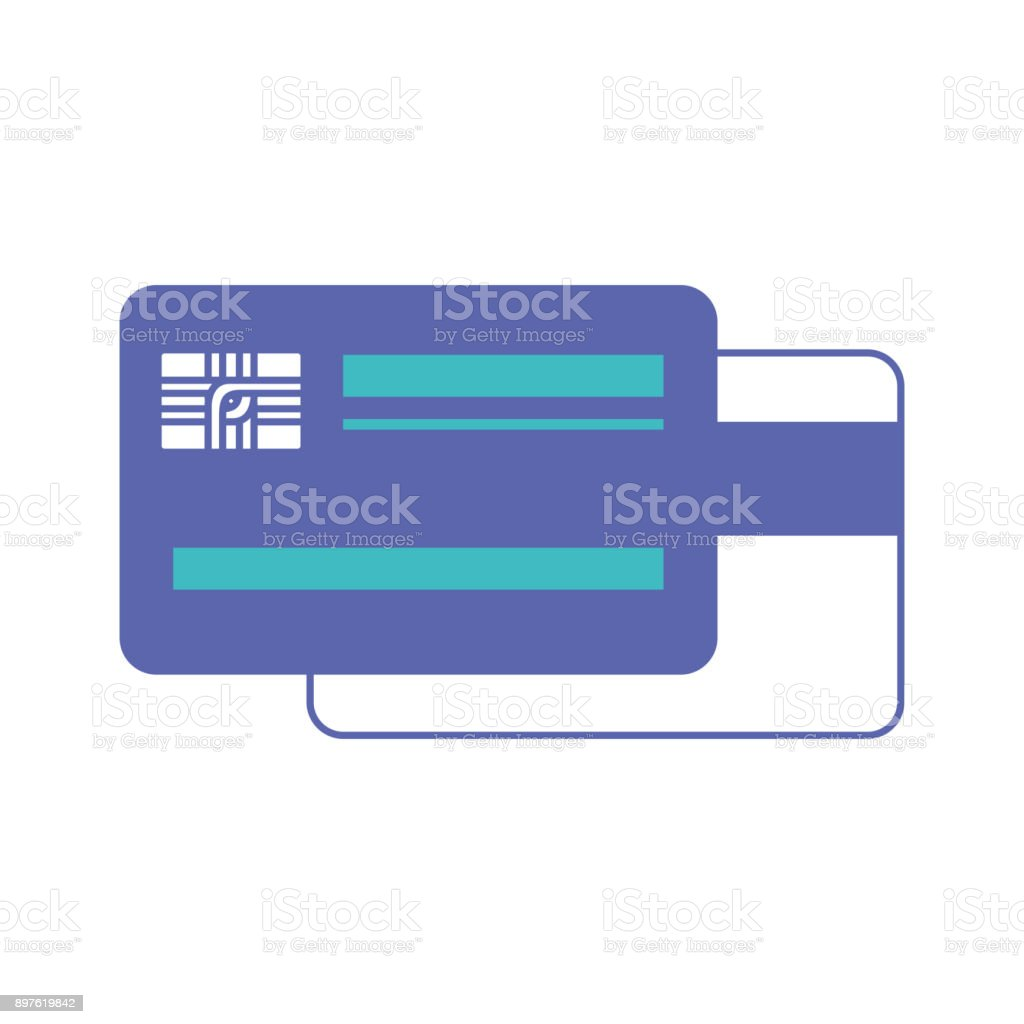 credit card both sides in blue and purple color sections silhouette vector art illustration