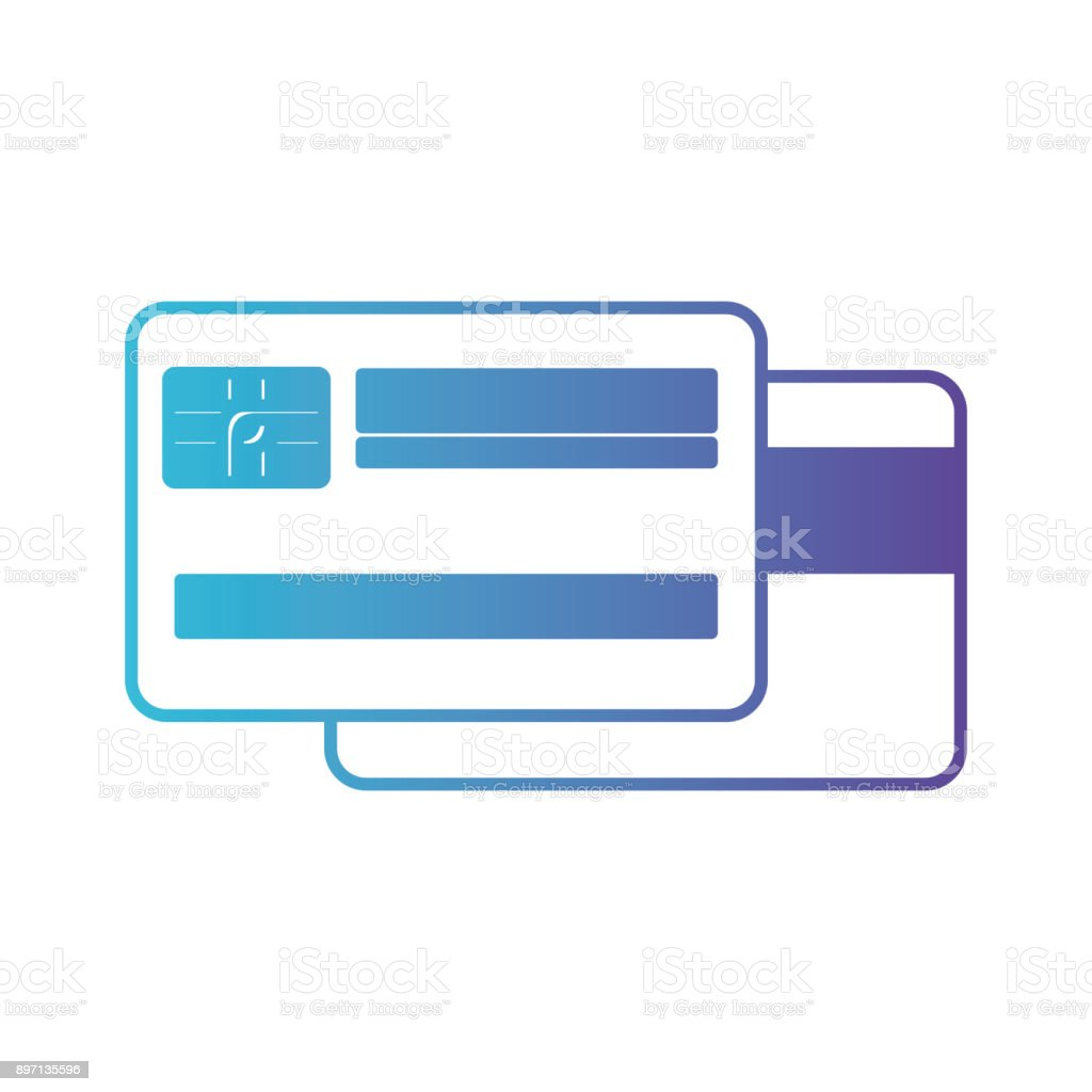 credit card both sides in degraded blue to purple color contour vector art illustration