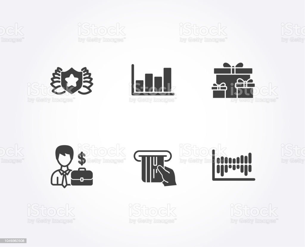 Credit Card Businessman Case And Surprise Boxes Icons Laureate Diagram Report Column