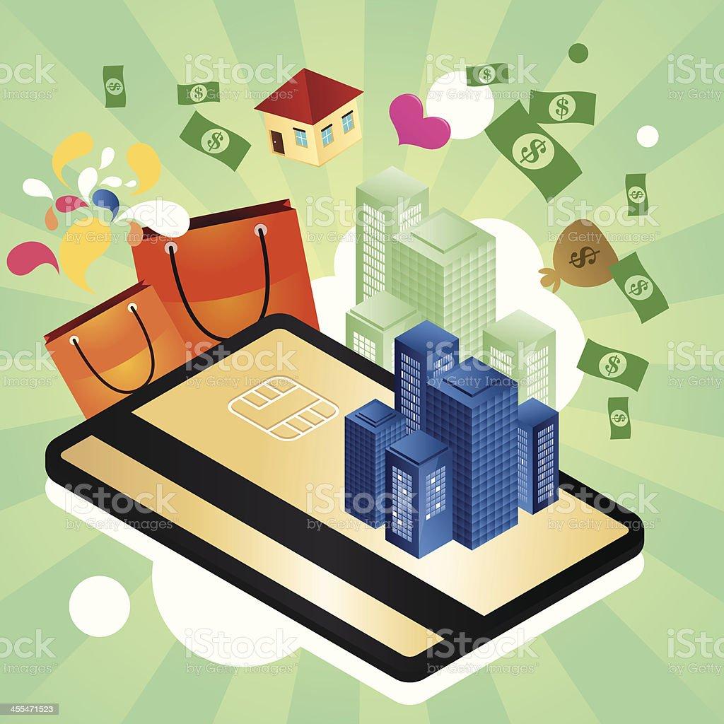 Credit card city royalty-free stock vector art