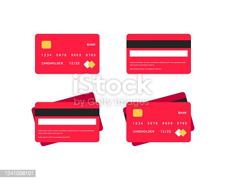 Credit card flat icons set. Side and top view red bank cards isolated on white background. Money on plastic. Online shopping vector illustration for web design , apps, infographics