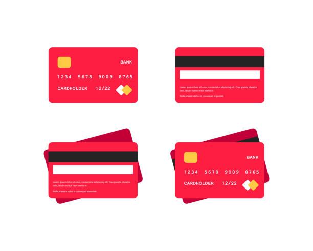 신용 카드 플랫 아이콘 세트 - credit card stock illustrations
