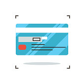 Credit card flat line icon concept