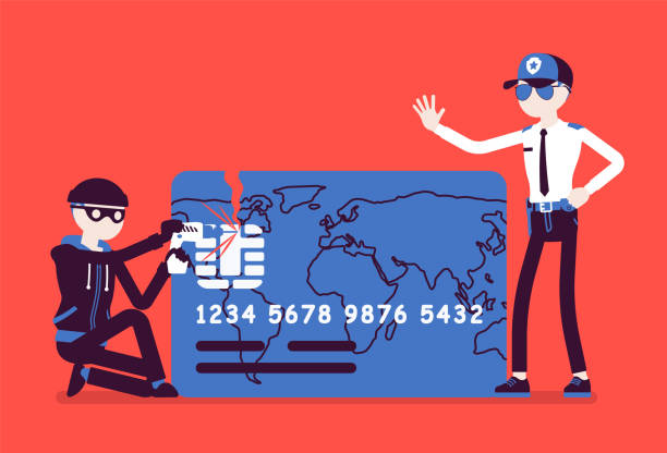 ilustraciones, imágenes clip art, dibujos animados e iconos de stock de tarjeta de crédito hacking - robo de identidad
