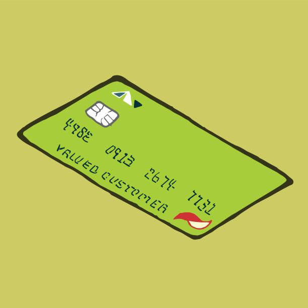 Credit Card Hand-Drawn Vector Clip Art Illustration vector art illustration