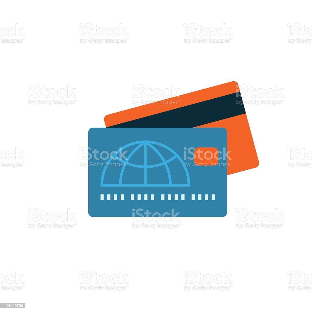 Credit Card Icon Flat vector art illustration