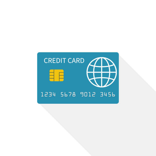 Credit card icon isolated on white background vector art illustration