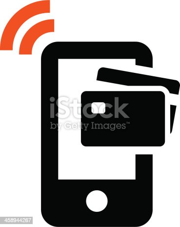 Credit Card Icon On Top Of Mobile Phone Indicating Payment Stock