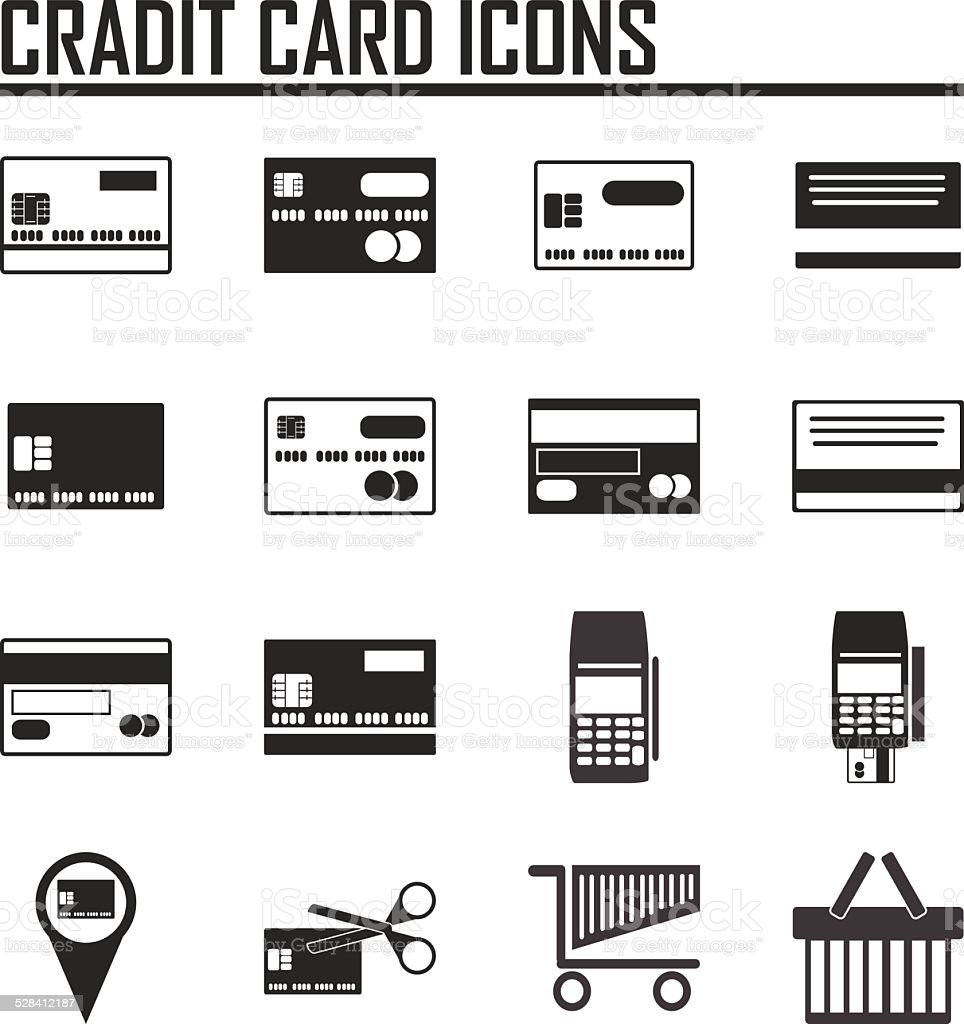 Credit card icons on white background. Vector illustration. vector art illustration