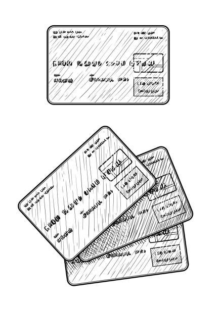 credit card illustration, drawing, engraving, ink, line art, vector - credit card stock illustrations