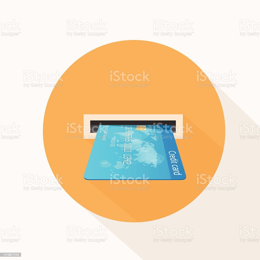 Credit Card in Atm Slot Icon Flat Vector vector art illustration