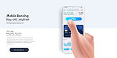 Credit card in smartphone. Payment through internet. Hand holding gadget.
