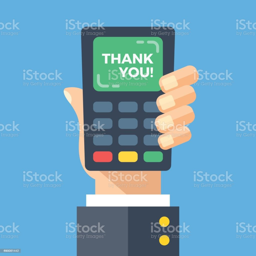 356eeba3f Máquina de cartão de crédito com palavras de agradecimento. Mão segurando o ponto  de venda