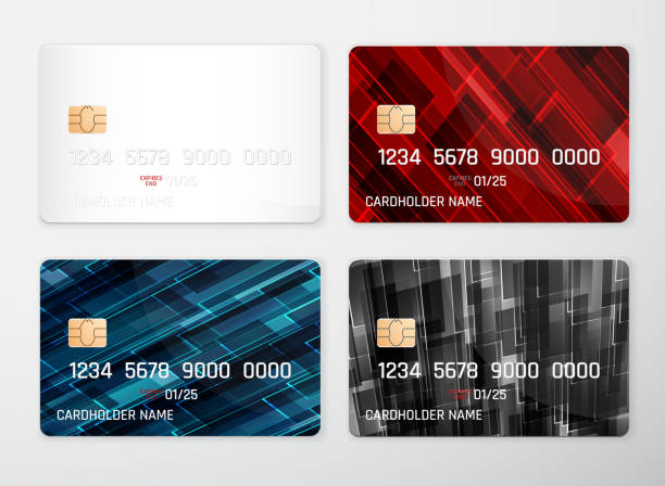 credit card mockup. realistic detailed credit cards set abstract design background. front template. money, payment symbol. vector illustration eps10 - credit card stock illustrations