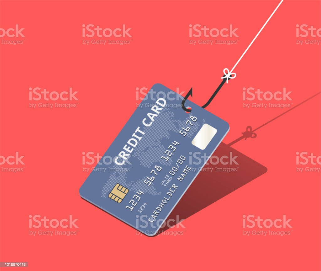 Credit card on fishing hook over scarlet background. Scam and phishing concept. Vector isometric illustration - arte vettoriale royalty-free di Affari