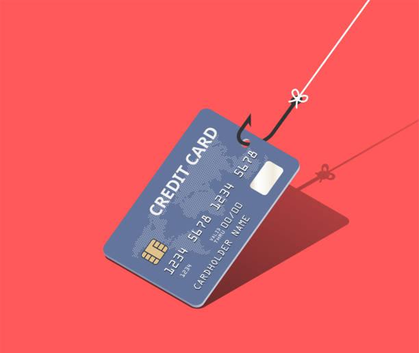 illustrazioni stock, clip art, cartoni animati e icone di tendenza di credit card on fishing hook over scarlet background. scam and phishing concept. vector isometric illustration - phishing