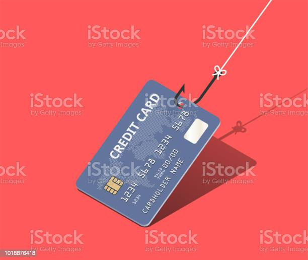 Credit Card On Fishing Hook Over Scarlet Background Scam And Phishing Concept Vector Isometric Illustration - Immagini vettoriali stock e altre immagini di Affari