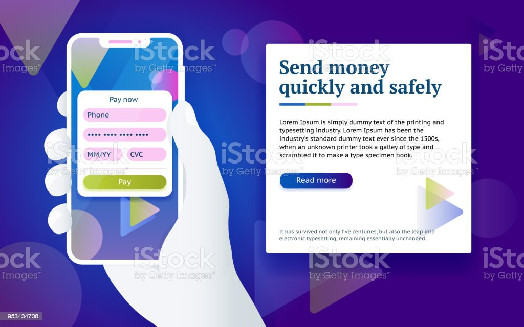 Credit card payment app. Money transfer design concept. Pay by smartphone. Man with phone in hand. Credit card payment app. Money transfer design concept. Pay by smartphone. Man with phone in hand. Online payment via internet services. Design concept from web banner and advertising. Vector image Bank - Financial Building stock vector