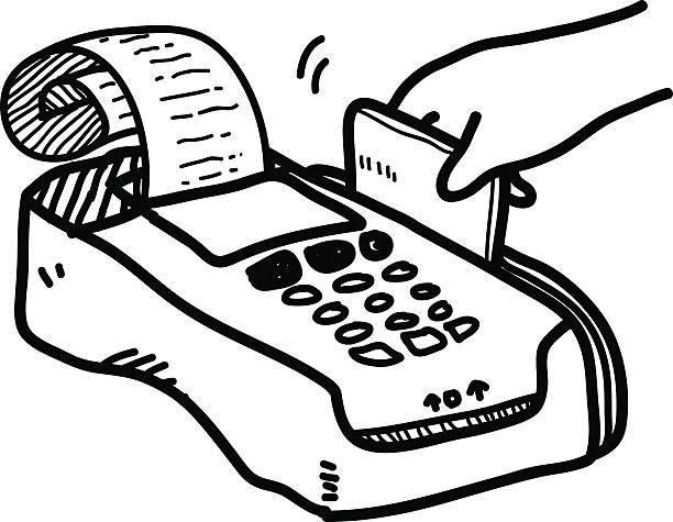 royalty free credit card machine drawing clip art vector. Black Bedroom Furniture Sets. Home Design Ideas