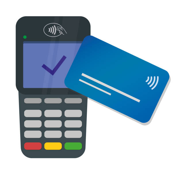 Credit card payment with nfc on a contactless pay terminal. NFC technology POS. Vector flat style. Tap to pay. vector art illustration