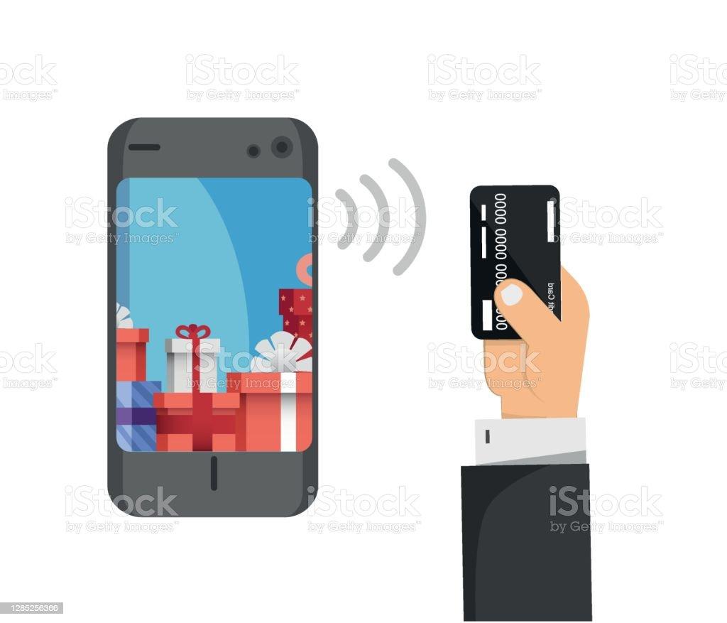 Kredi Kartı Telefon Ekranı Ve Hediye Paketleri Online Alışveriş Konsepti  Stok Vektör Sanatı & Akıllı Telefon'nin Daha Fazla Görseli - iStock